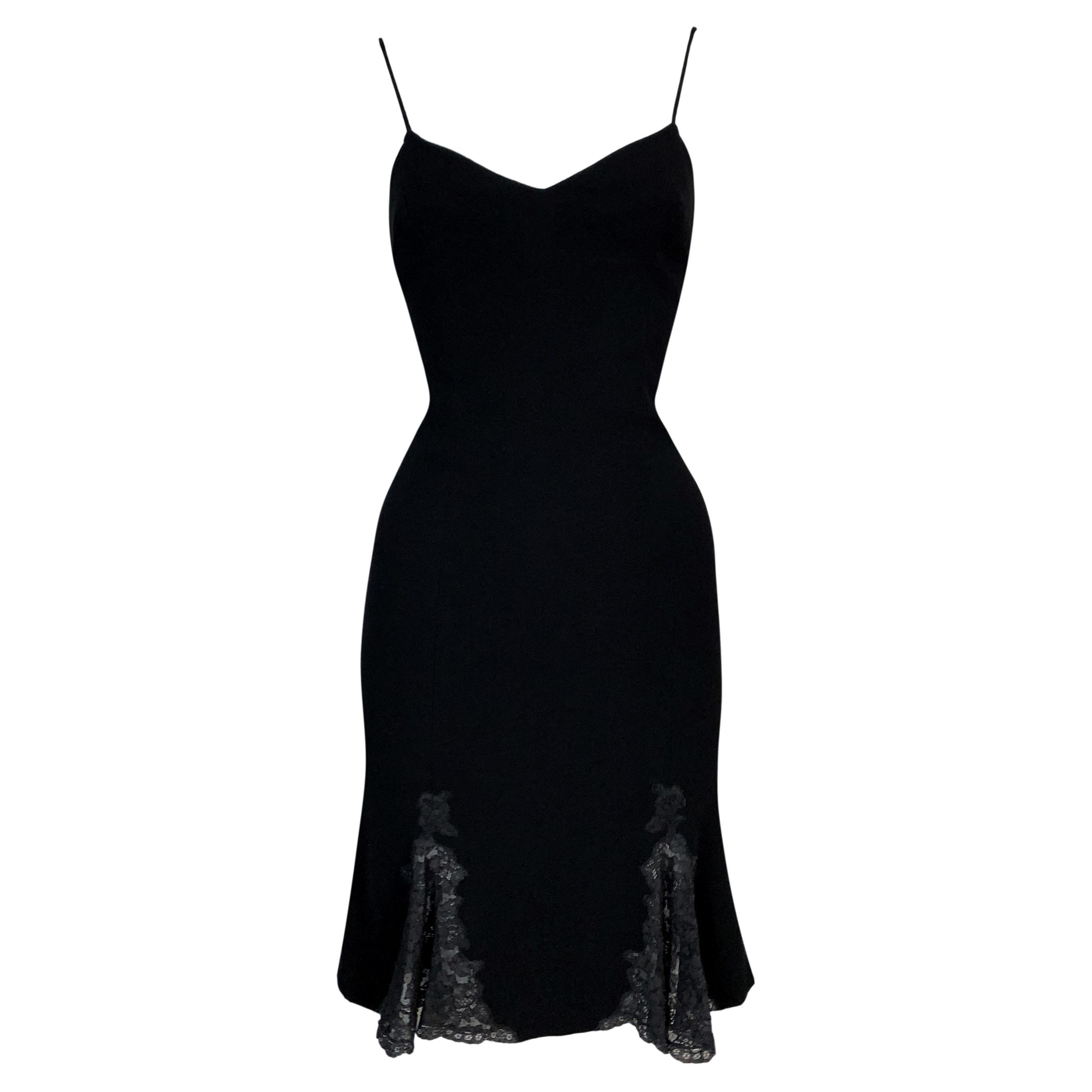 F/W 1998 Christian Dior by John Galliano Black Fit n Flare Lace Dress