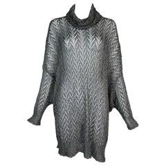 F/W 1998 Christian Dior by John Galliano Sheer Silver Baggy Sweater Dress S