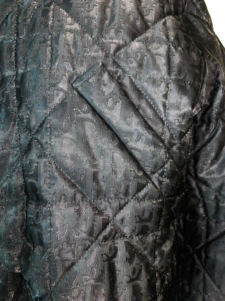 F/W 1998 Christian Dior John Galliano Black Logo Puffer Jacket w Fur M In Good Condition For Sale In Yukon, OK