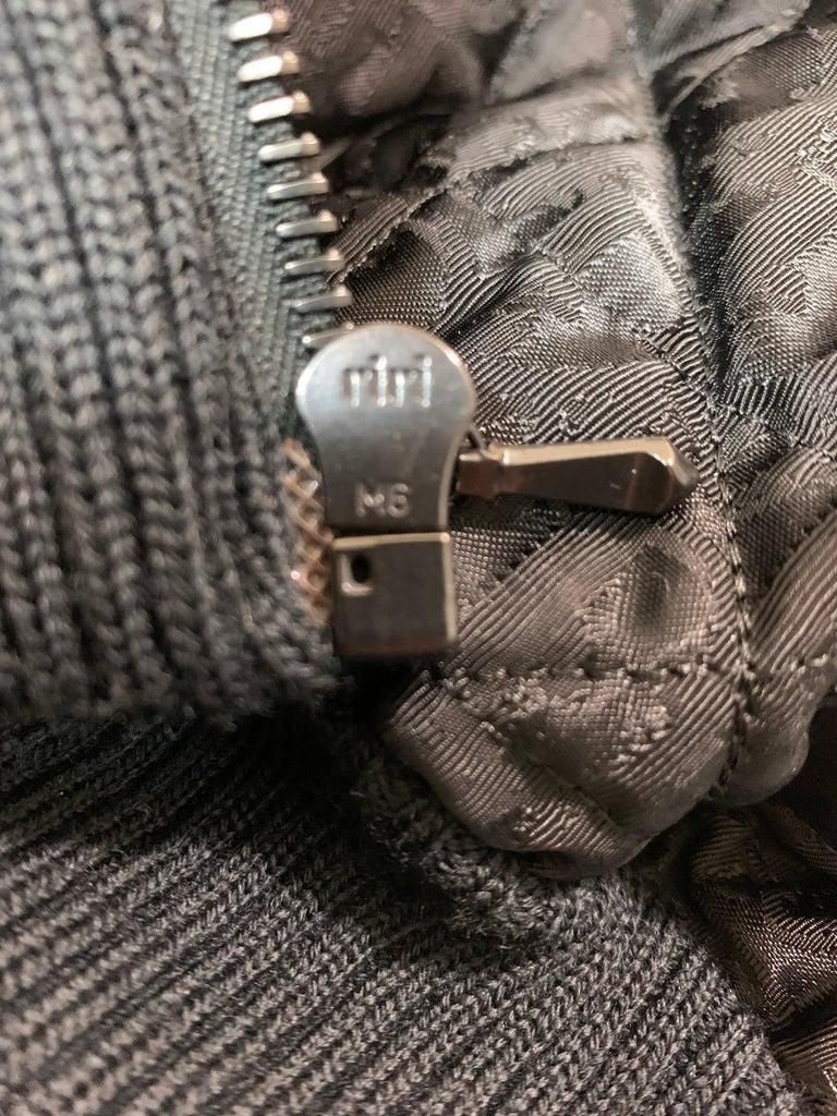 Women's F/W 1998 Christian Dior John Galliano Black Logo Puffer Jacket w Fur M For Sale