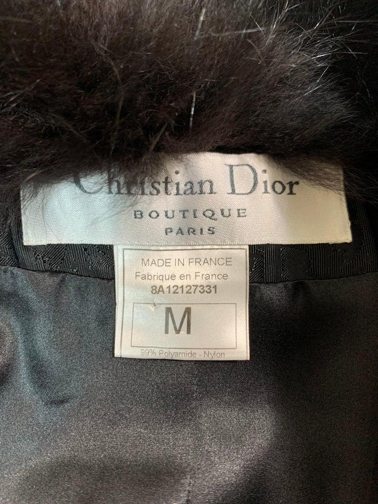 F/W 1998 Christian Dior John Galliano Black Logo Puffer Jacket w Fur M For Sale 1