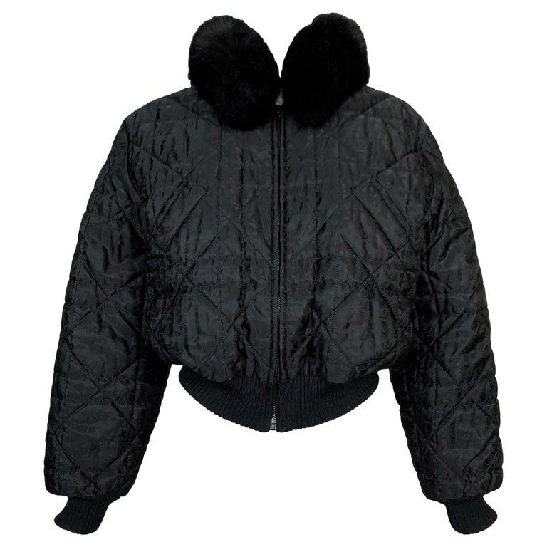 F/W 1998 Christian Dior John Galliano Black Logo Puffer Jacket w Fur M For Sale