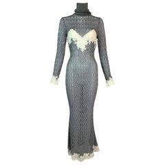 F/W 1998 Christian Dior John Galliano Documented Sheer Silver Gown Dress