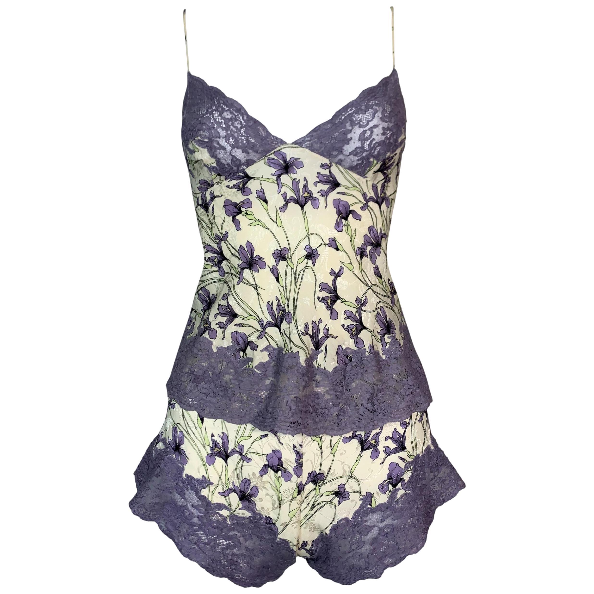 F/W 1998 Christian Dior John Galliano Floral Silk & Lace Cami & Shorts Set