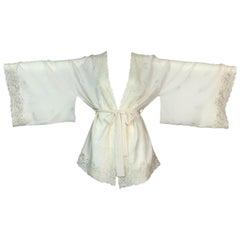 F/W 1998 Christian Dior John Galliano Ivory Silk Floral Lace Kimono