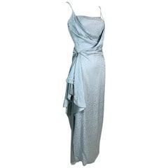 F/W 1998 Christian Dior John Galliano Old Hollywood 40's Style Blue Wrap Dress