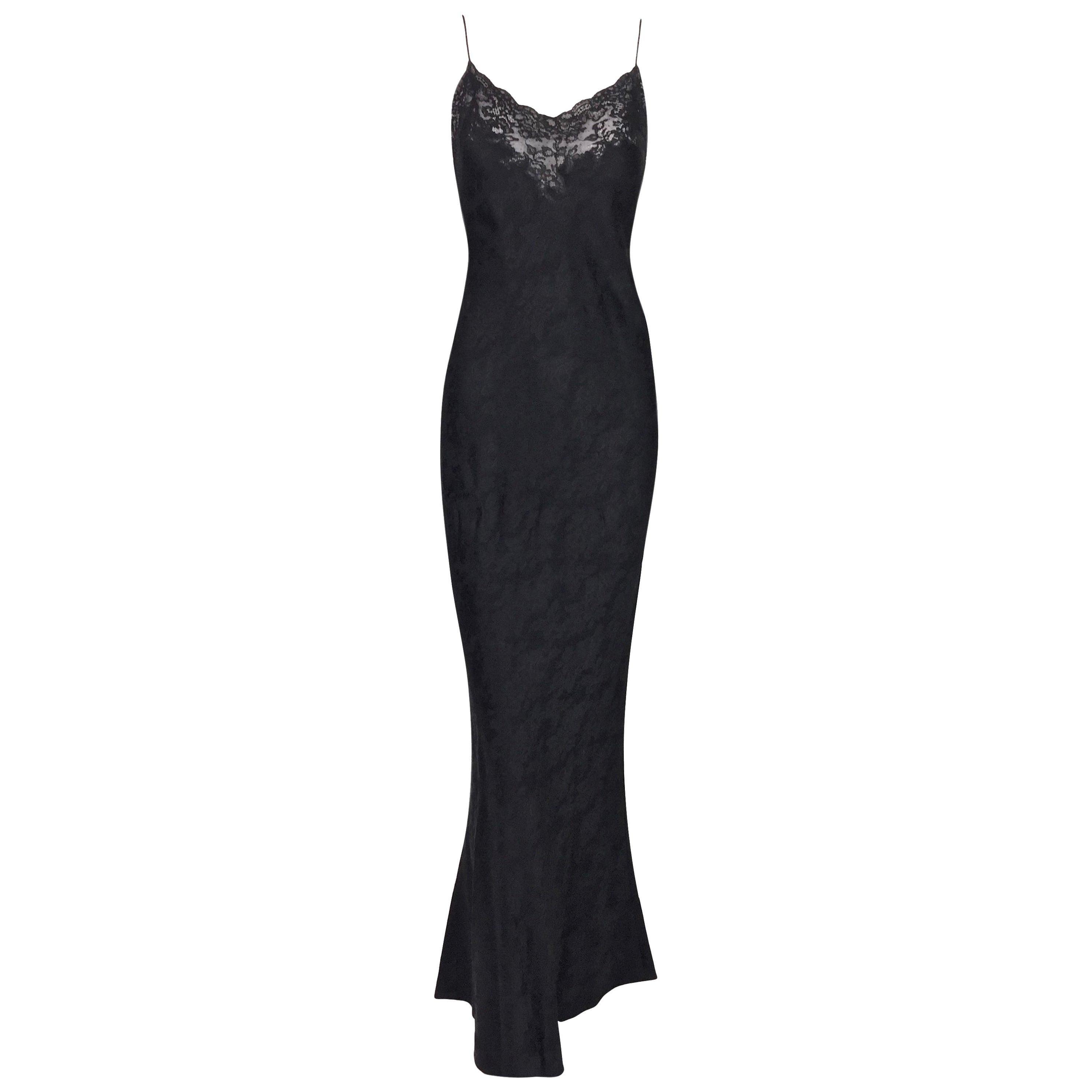 F/W 1998 Christian Dior John Galliano Sheer Lace Black Plunging Long Slip Dress