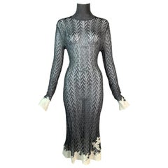 F/W 1998 Christian Dior John Galliano Sheer Silver Lace Trim Dress