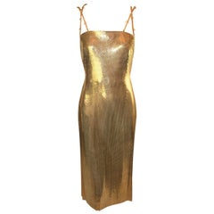F/W 1998 Gianni Versace Runway Harper's Bazaar Gold Metal Mesh Dress