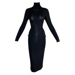 F/W 1998 Gucci by Tom Ford Semi-Sheer Bond Girl L/S Black Bodycon Dress