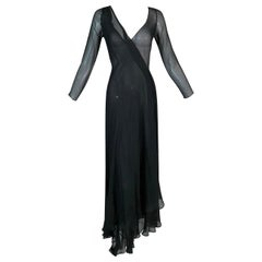 F/W 1998 Gucci by Tom Ford Sheer Black L/S Silk Long Wrap Gown Dress