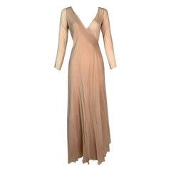 F/W 1998 Gucci Tom Ford Sheer Nude Silk L/S Wrap Long Dress