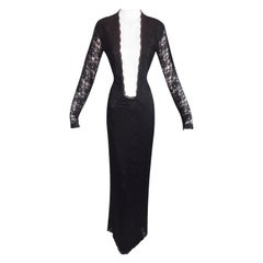 "F/W 1998 ""Joan"" Alexander McQueen Catholic Nude Mesh Black Lace Long Gown Dress"