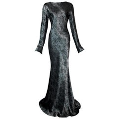 F/W 1998 John Galliano Runway Brocade Gunmetal Extra Long Dress
