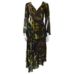 F/W 1998 Lapidus Haute Couture Chiffon and Velvet Applique Wrap Gown