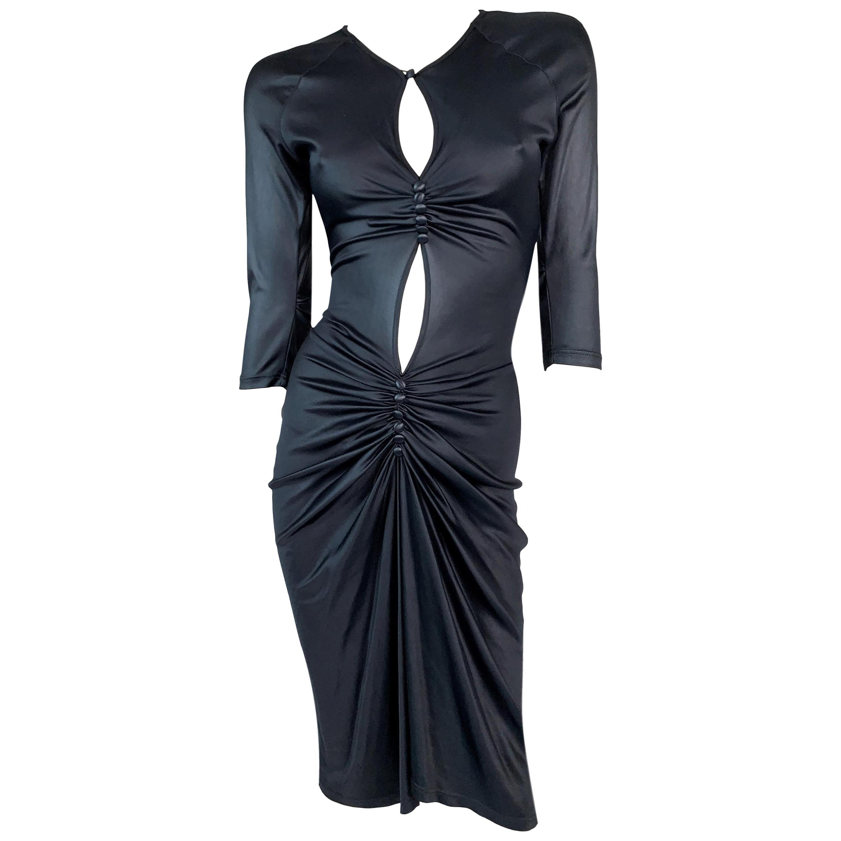 F/W 1998 Vivienne Westwood Runway Shiny Black Keyhole Cut-Out Bodycon Dress