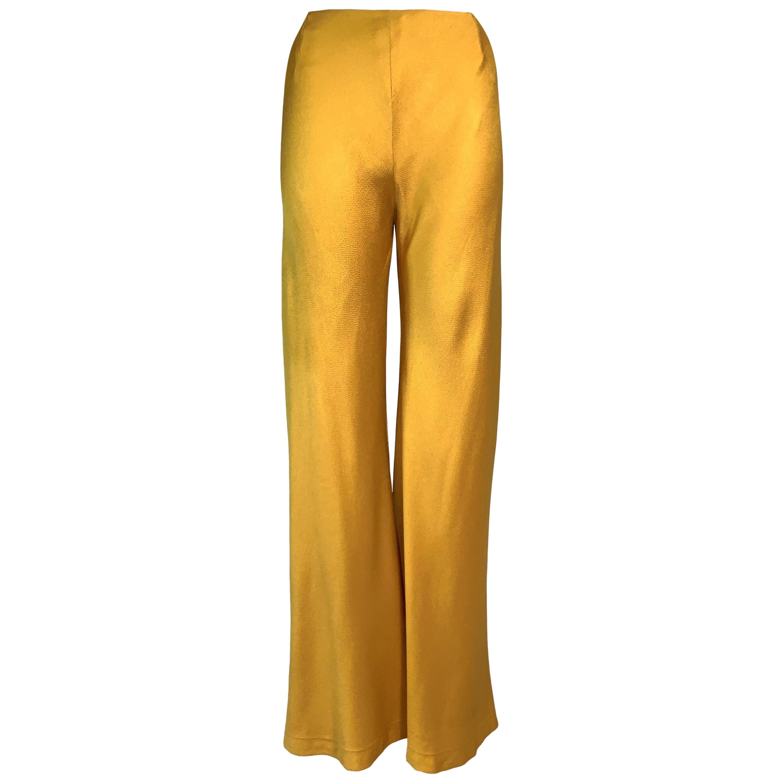 F/W 1999 Christian Dior John Galliano Liquid Gold Bell Bottom Wide Leg Pants