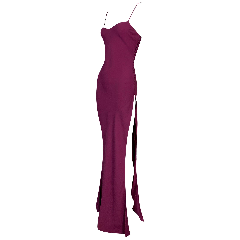 F/W 1999 Christian Dior John Galliano Magenta High Slit Gown Dress