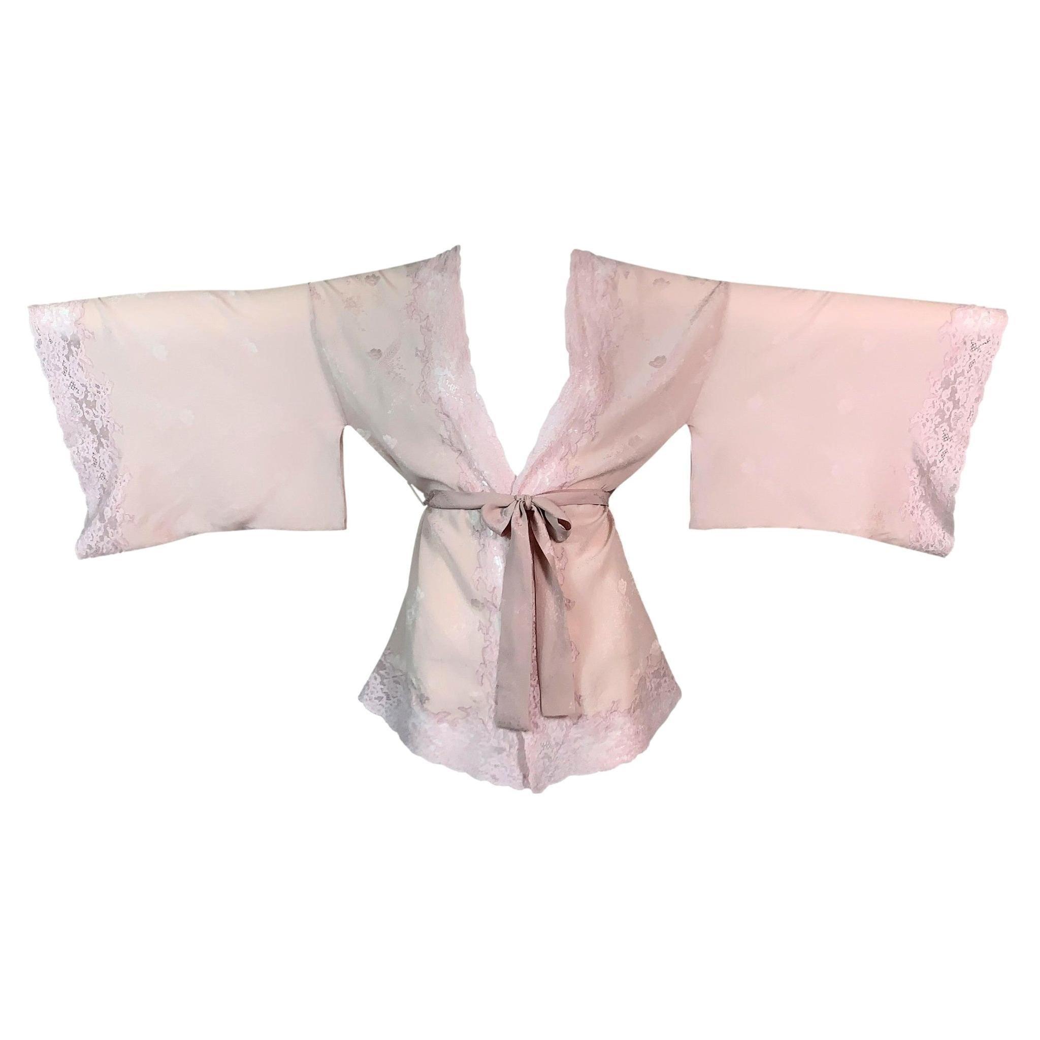 F/W 1999 Christian Dior John Galliano Pastel Pink Silk Lace Kimono Top