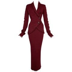 F/W 1999 Christian Dior John Galliano Red Knit Pom Cardigan & Skirt Set