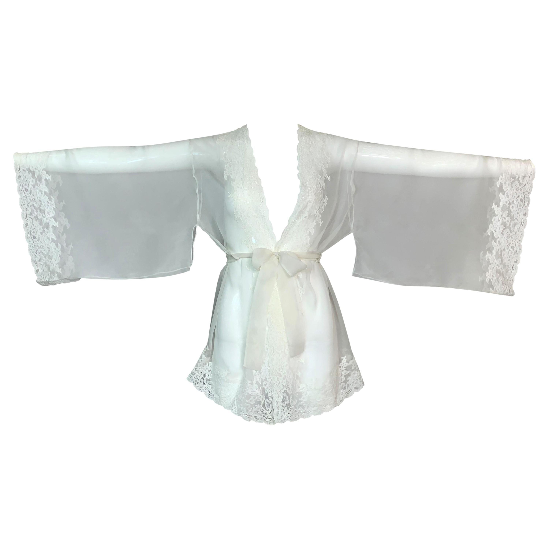 F/W 1999 Christian Dior John Galliano Sheer Ivory Silk Lace Kimono Top