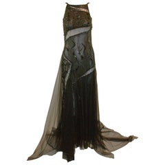 F/W 1999 Gianni Versace Runway Sheer Beaded Black Silk Gown Dress