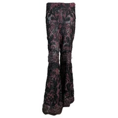 F/W 1999 Gucci by Tom Ford Runway Sheer Mesh & Lace Bell Bottom Pants