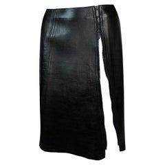 F/W 1999 Gucci Tom Ford Black Leather High Zipper Slit Pencil Skirt