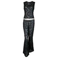 F/W 1999 Gucci Tom Ford Runway Sheer Black Ribbon Lace Top & Pant Set