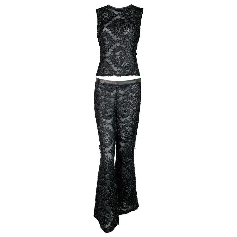 05e576847 F/W 1999 Gucci Tom Ford Runway Sheer Black Ribbon Lace Top and Pant ...