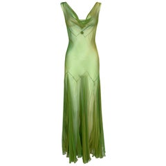 F/W 1999 John Galliano Runway Sheer Iridescent Gold Green Pleated Maxi Dress