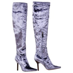 F/W 1999 VINTAGE TOM FORD FOR GUCCI VELVET OVER THE KNEE BOOTS New! Size 7