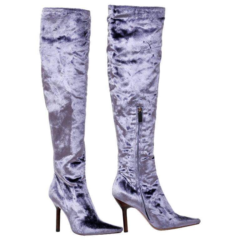 F/W 1999 VINTAGE TOM FORD FOR GUCCI VELVET OVER THE KNEE BOOTS New! Size 7 For Sale