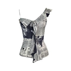 F/W 2000 Christian Dior by John Galliano Newsprint Ruffle Cami Top