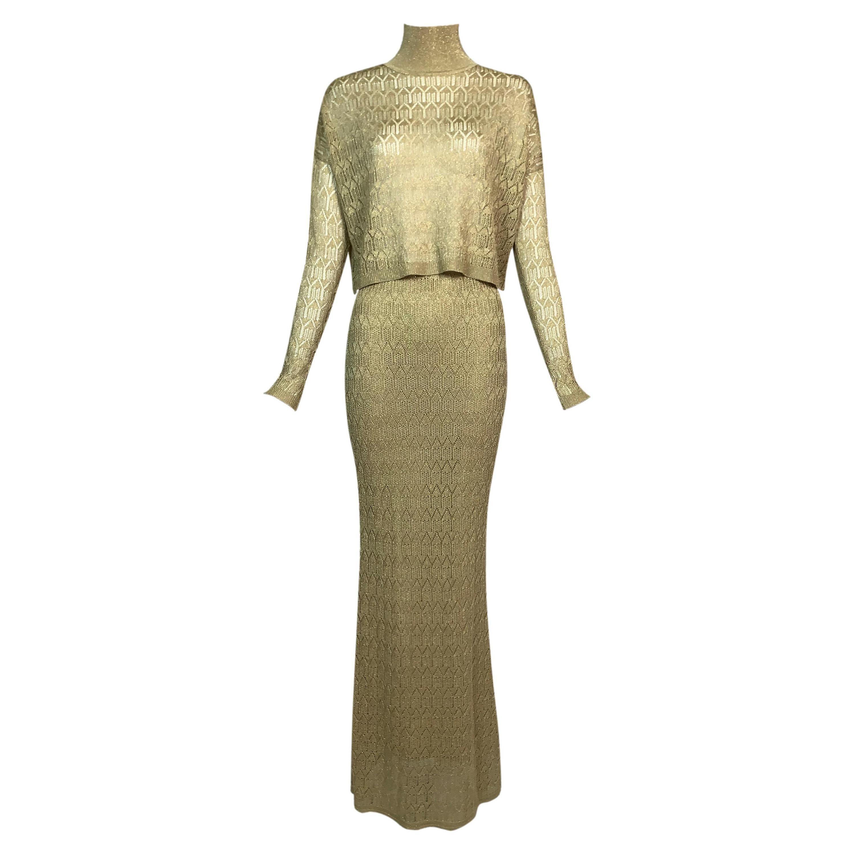 F/W 2000 Christian Dior by John Galliano Sheer Gold Crop Top Maxi Skirt Set