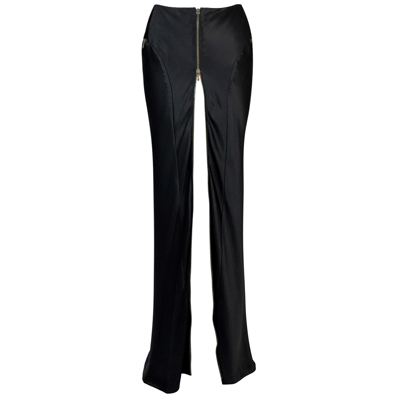 F/W 2000 Christian Dior John Galliano Black Stain High Slit Zip Maxi Skirt