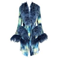 F/W 2000 Christian Dior John Galliano Blue Tie Dye Velvet Mongolian Lamb Jacket