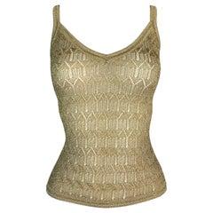 F/W 2000 Christian Dior John Galliano Gold Knit Cami Tank Top