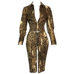 F/W 2000 Christian Dior John Galliano Leopard Cropped Jacket & Skirt Set
