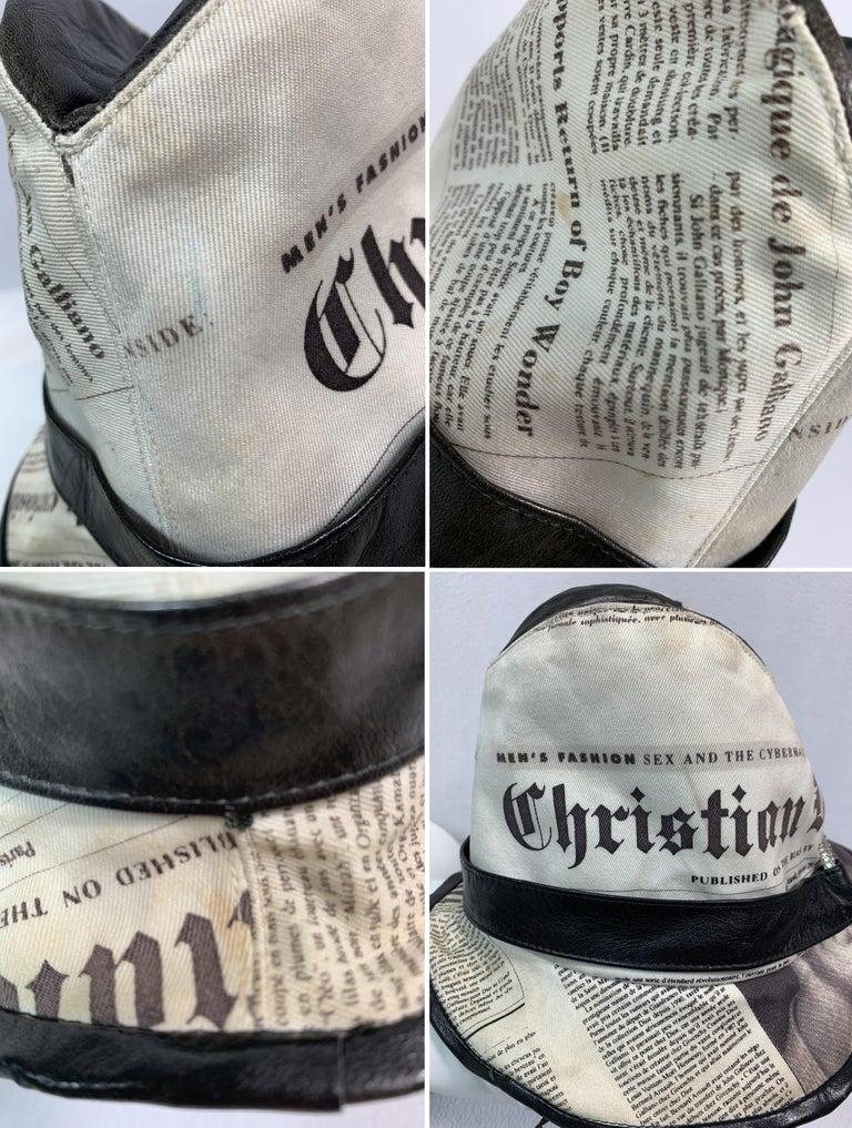 F/W 2000 Christian Dior John Galliano Newsprint Logo by Stephen Jones Top Hat For Sale 7