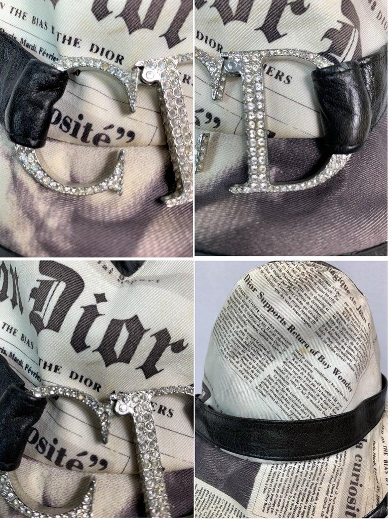 F/W 2000 Christian Dior John Galliano Newsprint Logo by Stephen Jones Top Hat For Sale 9