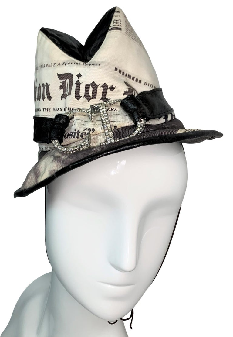 DESIGNER: F/W 2000 Christian Dior John Galliano newsprint top hat handmade by the famed hat designer Stephen Jones! This is a rare and extremely collectible piece, worthy of a museum. We believe it may be the only one made.   Please contact us for