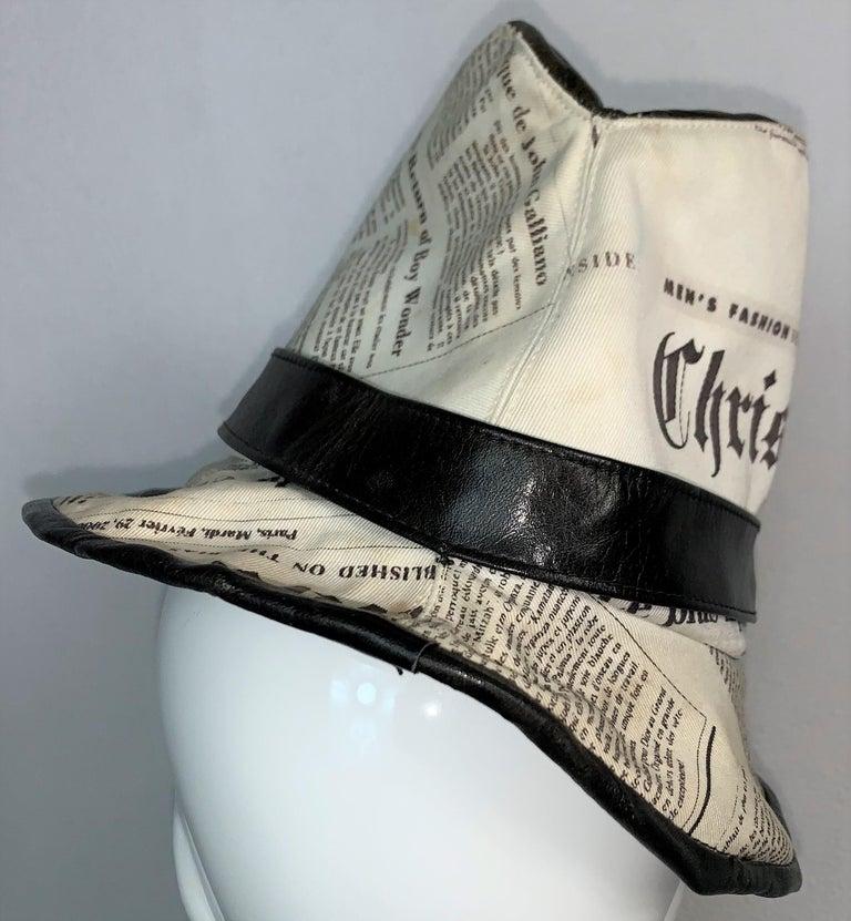 Women's or Men's F/W 2000 Christian Dior John Galliano Newsprint Logo by Stephen Jones Top Hat For Sale
