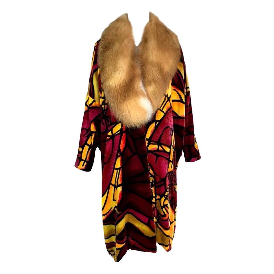 F/W 2000 Christian Dior John Galliano Red Yellow Stained Glass Fur Opera Coat