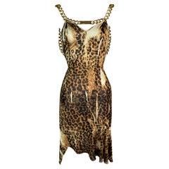 F/W 2000 Christian Dior John Galliano Runway Leopard Gold Logo Chain Dress