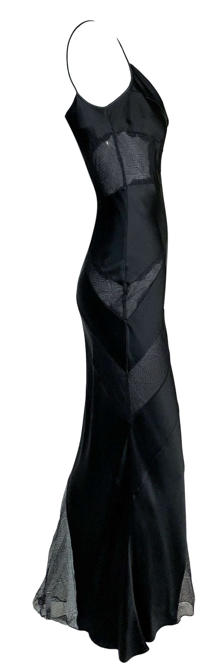 F/W 2000 Christian Dior John Galliano Sheer Black Lace Panels Gown Dress In Good Condition For Sale In Yukon, OK