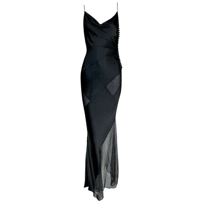 F/W 2000 Christian Dior John Galliano Sheer Black Lace Panels Gown Dress For Sale