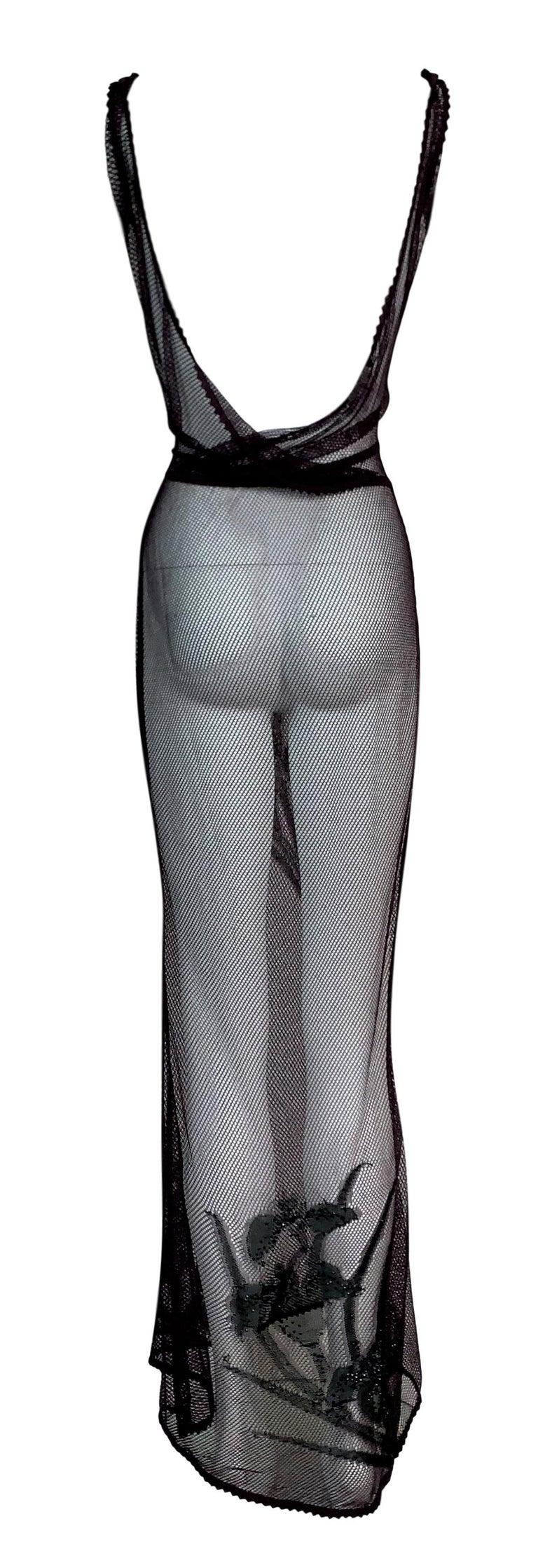 Gray F/W 2000 Christian Dior John Galliano Sheer Fishnet Embellished Maxi Dress For Sale