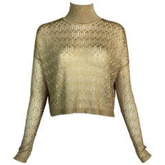 F/W 2000 Christian Dior John Galliano Sheer Gold Knit Cropped Sweater Top
