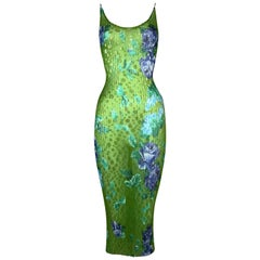 F/W 2000 Dolce & Gabbana Runway Sheer Green Floral Pleated Bodycon Dress